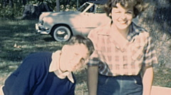 USA 1947: family during a picnic Stock Footage