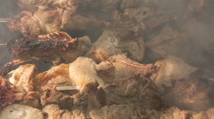 Preparation of roasted meat on the fire for a picnic. Stock Footage