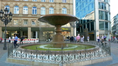 4K Fountain at Kaiser Platz square downtown old town Frankfurt am Main Germany Stock Footage