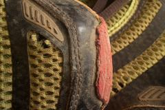 Horizontal Medium close up of top front of worn running  shoe, with 2nd show Stock Photos