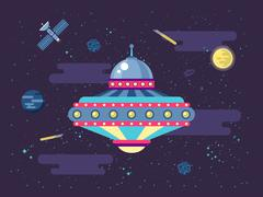 Illustration of a flying saucer UFO in outer space flat style Piirros