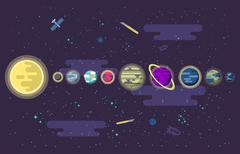 Illustration of a set  all the planets  the solar system in outer space Stock Illustration