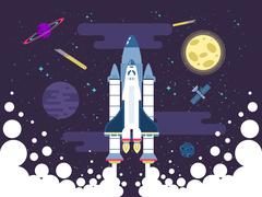 illustration of rocket flies in outer space in a flat style - stock illustration