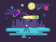 Illustration of a telescope on background outer space in  flat style Piirros