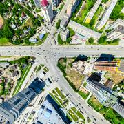 Aerial city view. Urban landscape. Copter shot. Panoramic image - stock photo
