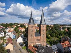Rote Spitzen Altenburg medieval town red towers old - stock photo