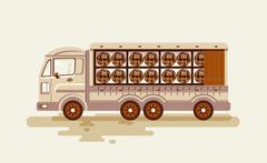 Illustration transportation of alcoholic beverages by truck, shipping barrels Piirros