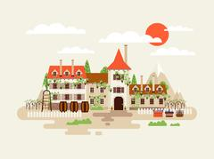 Illustration of architecture winery facade with vineyards on the background Piirros