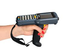 Handheld laser barcode scanner reader in woman hand. Isolated on white backgr - stock photo
