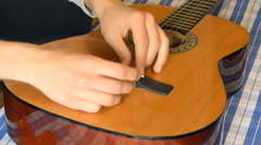 Trying To Re-String Classic Guitar Stock Footage