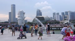 Merlion fountain in Singapore. Stock Footage