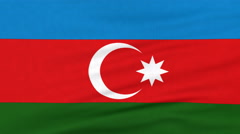 National flag of Azerbaijan flying on the wind Stock Footage