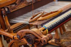 Weaving Loom and thread of yarn Stock Photos