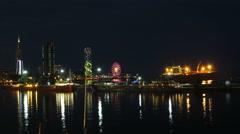 Night City Of Batumi, Georgia. Batumi Sea Port. Time Lapse Stock Footage