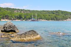 Beautiful seascape and pleasure boat Stock Photos