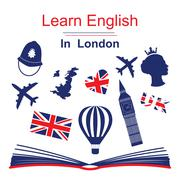 Learn english in London poster - stock illustration