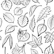 Leaves of Plants Pictogram, Seamless - stock illustration
