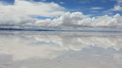 Lake Salar de Uyuni with thin layer of water Stock Footage