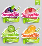 Set sticers smoothie with ribbon. Stock Illustration