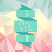 Spring time on an abstract polygonal background. - stock illustration