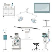 Set with medical furniture and equipment of a operating room Stock Illustration