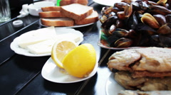 Seafood Mussels and Fish Trout on a Plate in a Restaurant Stock Footage