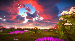 Summer wildflowers on meadow 3d rendering Stock Illustration