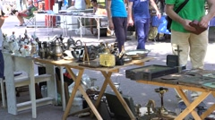 Antique market, buyers Stock Footage