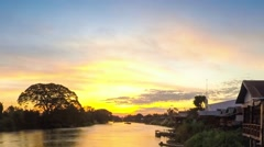 Sunset over a major tributary of the Amazon - the Rio Napo in Ecuador - Stock Footage