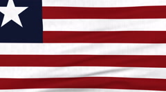 National flag of Liberia flying on the wind Stock Footage