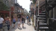 Pedestrian street. Rue du petit Champlain, Quebec City, Canada. - stock footage