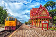 Hua Hin Train Station Digital Painting Piirros