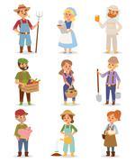 Farmers people vector set Stock Illustration