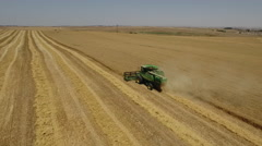 Harvester removes the ripe wheat, aerial view - stock footage