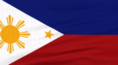 National flag of Philippines flying on the wind Stock Footage