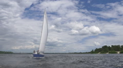 The yacht sails into the wind Stock Footage