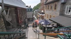 Pedestrian street. Rue du petit Champlain, Quebec City, Canada. Stock Footage