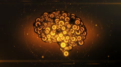 Modern carbon black orange mechanical cogwheel computer brain coming together Stock Footage