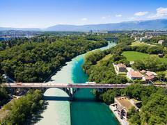 Aerial view of Arve an Rhone river confluent in  Geneva Switzerland Stock Photos