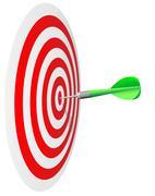 Winning concept.  Dart's hit the bull's eye isolated on white background. - stock illustration