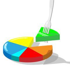 Concept vector illustration symbolizing taking market  share. Section of diag - stock illustration