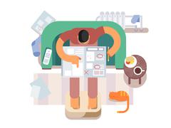 Unemployed looking for a job in the newspaper Stock Illustration