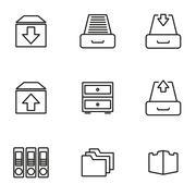 Vector line archive icon set - stock illustration