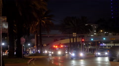 Bus stops at 5th road Miami Beach Stock Footage