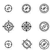Vector line compass icon set Piirros
