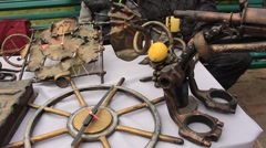 Iron Souvenir Anchor and Clock at the Exhibition Stock Footage