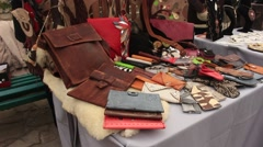 Leather Bags at the Exhibition Stock Footage