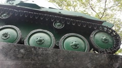 Caterpillar of Retro Soviet World War II Tank at a Postament Stock Footage