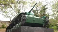 Retro Soviet World War II Tank at a Postament Stock Footage