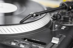 DJ needle on  turntable Stock Photos